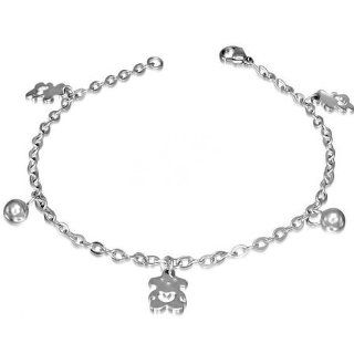 Stainless Steel Open Love Heart Teddy Bear Ball Charm Link Chain Bracelet: Jewelry