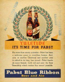 1935 Ad Pabst Blue Ribbon Beer & Ale Liquor Christmas   Original Print Ad