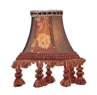 Livex S124 Chandelier Shade Burgundy Floral Bell Clip Shade with Tassels   Lampshades