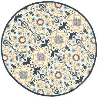 Safavieh HK727A 5R Chelsea Collection 5 Feet 6 Inch Round Hand hookedWool Round Area Rug, Ivory and Navy