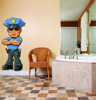 PRESCHOOL CLASSROOM Cartoon Character Cop Police Officer NYPD Boy Girl Kid Children Sticker Mural Vinyl Wall   Best Selling Cling Transfer Decal Color 753 Size  20 Inches X 60 Inches   22 Colors Available   Wall Decor Stickers