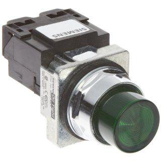 Siemens 52PL4K3 Heavy Duty Pilot Light, Water and Oil Tight, Plastic Lens, Transformer, 6V 755 Type Lamp or 6V LED, Green, 600VAC Voltage Indicator Lights Industrial & Scientific