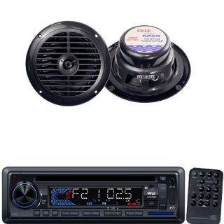 Pyle Marine Radio Receiver and Speaker Package   PLCD34MRW AM/FM MPX IN Dash Marine CD/ Player/Weatherband/USB & SD Card Function   PLMR67B 6 1/2'' Dual Cone Waterproof Stereo Speaker System  Vehicle Receivers