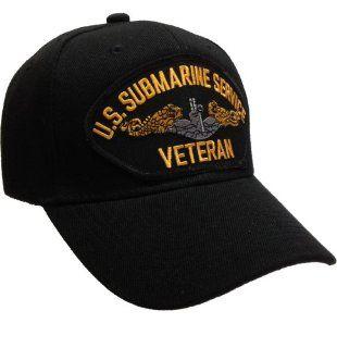 U.S. Submarine Service Veteran Ball Cap Hat Silver and Gold   Black Hat