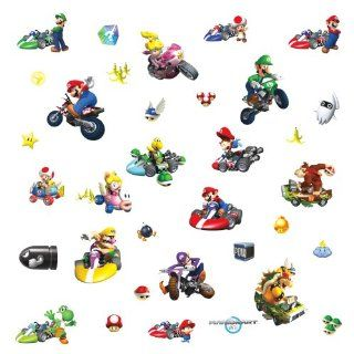 Roommates 771Scs Nintendo Mario Kart Peel And Stick Wall Decals, 34 Count   Wall Decor Stickers