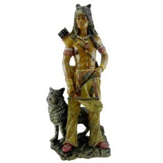 Native American Warrior w/ Wolf Collectible Indian Figurine Sculpture   Indian Statue