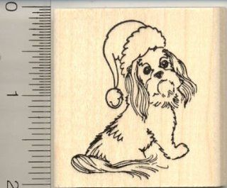 Christmas Shih Tzu Rubber Stamp