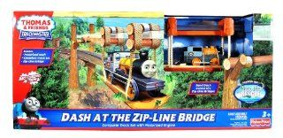 "Fisher Price Year 2011 Thomas and Friends ""Misty Island Rescue"" Movie Series Trackmaster Motorized Railway Battery Powered Tank Engine Playset   DASH AT THE ZIP LINE BRIDGE with Complete Track Set, Zip Line Bridge and Motorized Dash: Toys & G"