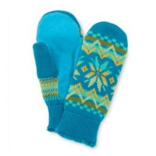 Isotoner Womens Teal Blue Green Snowflake Mittens Fairisle Microfleece Lining at  Women�s Clothing store