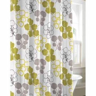 City Scene Pressed Flower Cotton Shower Curtain   Shower Curtains