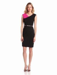 Calvin Klein Women's Assmetrical Colorblock Dress, Black/Freezia, 4 at  Women�s Clothing store