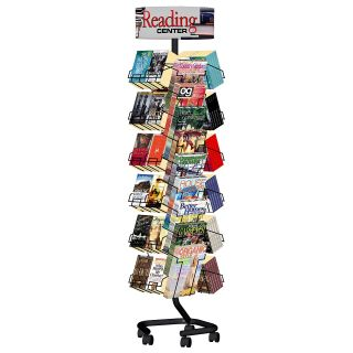 Combination Magazine Paperback Book Rack with Casters   Literature Racks