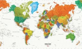 RoomMates World Map Wallpaper Mural   Wall Maps