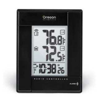 Oregon Scientific Wireless Indoor/Outdoor Thermometer with Self Setting Atomic Clock   Black   Thermometers