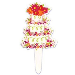 Dress My Cupcake DMC41WP 817 12 Pack Floral Wedding Cake Pick Decorative Cake Topper Kitchen & Dining