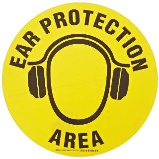 """Brady 92405 17"""" Diameter B 819 Vinyl Film With Clear, Matte Anti Slip Overlaminate, Black On Yellow Color Floor Safety Sign, Legend Ear Protection Area (With Picto) Industrial Warning Signs Industrial & Scientific"""