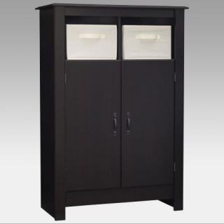 Black Double Door Pantry Cabinet with Storage Bins   Pantry Cabinets