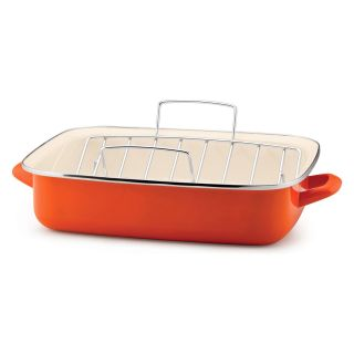 Rachael Ray Orange Enamel on Steel 16.5 in. Open Roaster with V Shape Rack   Roasting Pans