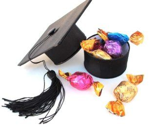 Black Graduation Hat Specialty Gift Box Of Premium Filled Chocolate Candies   Godiva 4 Pack  Gourmet Chocolate Gifts  Grocery & Gourmet Food