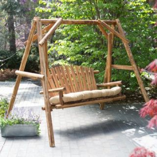 Coral Coast Rustic Oak Log Curved Back Porch Swing and A Frame Set   Porch Swings