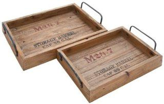"Rustic Wood Tray Set Of 2, S/2 18"", 15""W, NATURAL WOOD   Wooden Serving Tray Large"