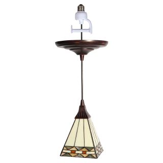 Worth Home Products Instant Pendant Light with Tiffany Style Glass Shade   5.75W in. Antique Bronze   Pendant Lighting