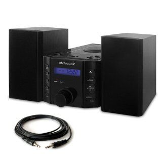 Magnasonic CD Player Stereo Speaker Micro System with Alarm Clock, AM/FM Radio and Auxiliary Input for  Players (MAG MS857) & One Bonus High Quality 6 foot Stereo Audio Cable for  Players (CAB35MM5)  Camera & Photo