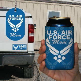 Military Branch   U.S. Air Force Mom 3 Piece Gift Set   Bumper Magnet, Dog Tag, and Can Cooler  Sports Fan License Plate Covers  Sports & Outdoors