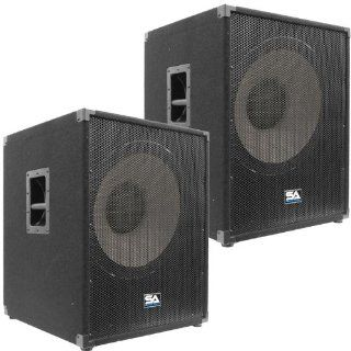 """Seismic Audio   Enforcer II PW   Pair of Powered PA 18"""" Subwoofer Speaker Cabinets Musical Instruments"""