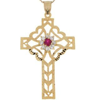 10k Gold Red & White CZ Filigree Hearts Celtic Inspired 6.0cm Cross Pendant: Jewelry