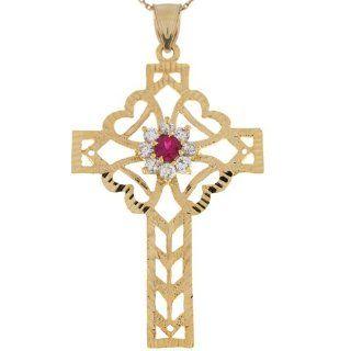 10k Gold Red & White CZ Filigree Hearts Celtic Inspired 6.0cm Cross Pendant: Jewelry