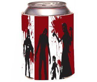 Rikki KnightTM Zombies on White and Red blood Design Drinks Cooler Neoprene Koozie Cold Beverage Koozies Kitchen & Dining
