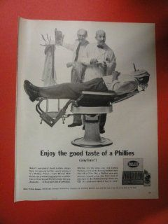 Phillies perfecto cigar, (man in barber chair.) Orinigal 1960 Vintage Magazine print Ad. : Everything Else