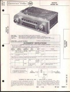 1958 Chrysler MoPar Model 851 Car Radio PhotoFact folder 7 1958 Entertainment Collectibles