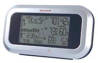 Honeywell TE852W Long Range Weather Forecaster with Wind Speed and Atomic Clock   Weather Stations