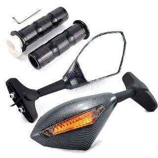 "4 pc Set of Custom LED Turn Signal Light Blinker Side Marker Indicator Rearview Side Mirror Billet Aluminum Stem Arm With Two Genuine Carbon Fiber 7/8"" Hand Grips w/ throttle For Sport Racing Bike: Automotive"