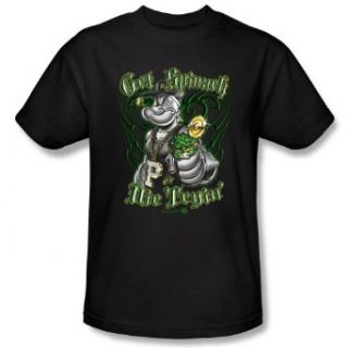 Popeye GET SPINACH   Short Sleeve Adult Tee BLACK T Shirt Clothing
