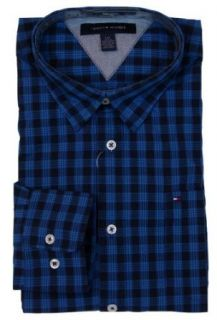 Tommy Hilfiger Mens Long Sleeve Custom Fit Button Front Shirt   M   Blue Plaid at  Men�s Clothing store
