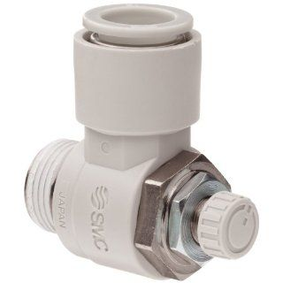 """SMC AS2201F 02 06S Air Flow Control Valve with Push to Connect Fitting, PBT & Nickel Plated Brass, Elbow, With Sealant, 1/4"""" BSPT Male x 6 mm Tube OD Shower Flow Control Valves Industrial & Scientific"""