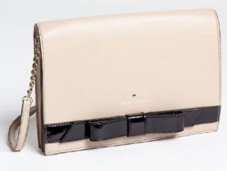 Kate Spade New York Lissa Black Bow Leather Crossbody Bag, Taupe Shoes