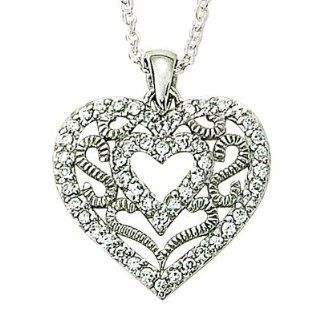 "Small .925 Sterling Silver Filigree Heart Necklace with Crystal CZ Stones Christian Jewelry Gift BoxedChain Necklace Type"" .925 Sterling Silver Curb Chain Necklace w/Chain Necklace 16"" Length Gift Boxed: Pendant Necklaces: Jewelry"