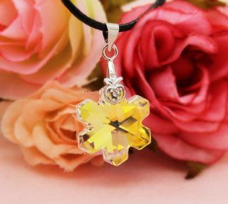 ** RUBY ROSE JEWELRY ** Snowflake   Genuine Swarovski Crystal Pendant w/ Leather Necklace ~ Perfect for 18'' American Girl Doll Toys & Games