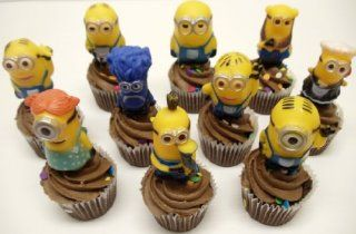 "Despicable Me 10 Piece Minions Birthday Cake Cupcake Topper Set Featuring 2"" Minion Cup Cake Toppers Including Dave, Stuart, Jerry, Tim, Phil, Josh, and Evil Purple Minion: Toys & Games"