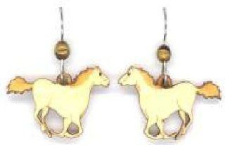 Running Horse with Stone Bead Natural Wood Carved Earrings: Jewelry