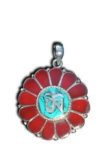 Inlaid Solid 925 St Sterling Silver Ohm Lotus Flower Meditation Buddhist Buddha Pendant Jewerly Hindu 1 Inch By 1 Inch Red Coral And Turquoise Inlay On A Beautiful 925 St Sterling Silver Heavily Plated Chain Handmade At The Foot Of The Himalayas By True Ne