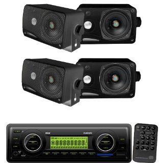 Pyle Marine Radio Receiver and Speaker Package   PLMR87WB AM/FM MPX IN Dash Marine  Player/Weatherband/USB & SD / MMC Card Function (Black)   2x PLMR24B 2 Pairs of 3.5'' 200 Watt 3 Way Weather / Water Proof Mini Box Speaker System  Vehicle