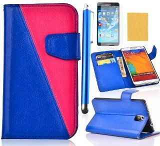 Tradekmk(TM) Ultra Slim Wallet Leather Carrying Case Cover With Credit ID Card Slots/ Money Pockets Fit For Samsung Galaxy Note3 N9000(Blue with Hot Pink), Support Stand Viewing,with Stylus Pen,Screen Protector and Cleaning Cloth Cell Phones & Accesso