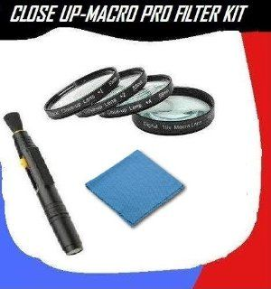 Close Up Macro Filter Kit For Canon EOS Rebel T1i 15.1 MP Digital SLR Camera + Microfiber Cleaning Cloth + Pro Lens Cleaning Pen  Camera Lens Filter Sets  Camera & Photo
