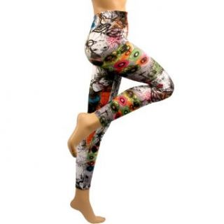 New Multi Color Graffiti Print Leggings Stretch Tights Gray at  Women�s Clothing store: Leggings Pants