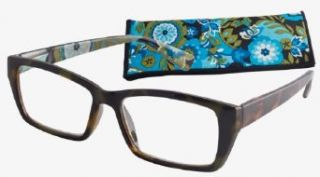 "Blue/Olive ""Interior Floral"" Women's Fashion Reading Glasses by ICU (2.25) Clothing"
